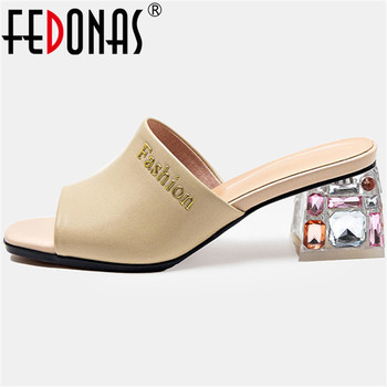 FEDONAS Vintage Genuine Leather Women Sandals With Crystal 2020 Summer Newest High Heels Pumps Casual Party Shoes Woman Heels
