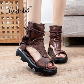 Botas de verano para mujer, botines informales, sandalias recortadas de cuero genuino, zapatos negros Retro hechos a mano para mujer, botas planas S2212