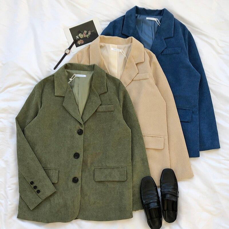 Winter Spring Woman Corduroy Blazer Jackets Korean Style Casual Streetwear Warm Coats Thicken Harajuku Women Blazer Cardigan
