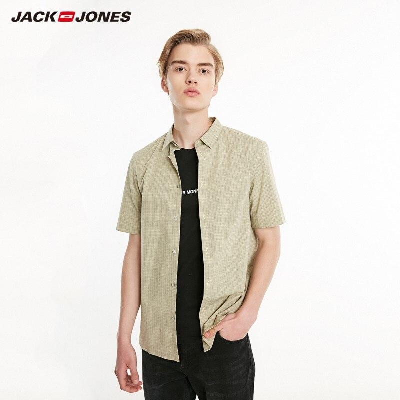JackJones Men's Slim Fit Plaid Pointed Collar Short-sleeved Shirt Menswear Style| 219104507
