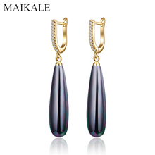 MAIKALE Trendy Long Black Pearl Earrings for Women Gold/Silver Zirconia Drop with Pearls Females Jewelry Girls Gifts