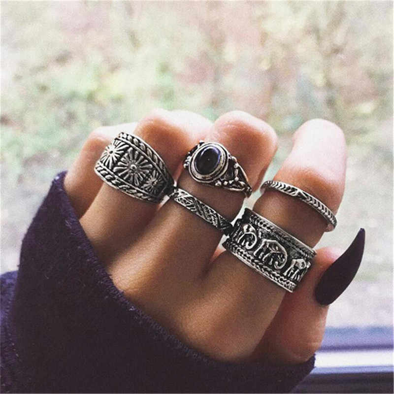 Doconaช้างโบฮีเมียดอกไม้แหวนผู้หญิงสีดำโอปอลหินKnuckle MIDI Fingerแหวนชุดเครื่องประดับAnillos 5 ชิ้น/เซ็ต 6222