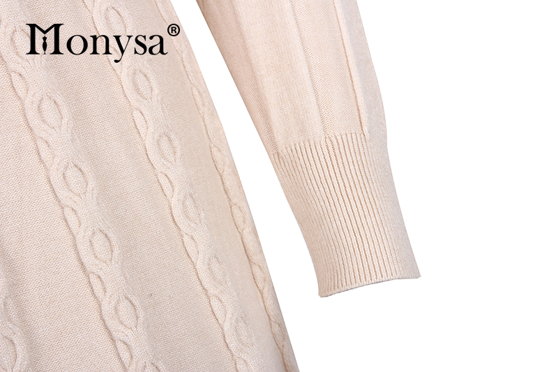 Autumn Winter Dresses 2019 New Arrival Fashion Casual Knee Length Knitted Dress Ladies Long Sleeve Sweater Dresses Black Blue 95
