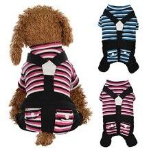 Pet Теплая одежда в полоску с нашивкой собачки Комбинезоны щенок 4 брюки с широкими штанинами комбинезон для йоркширского терьера Чихуахуа зимняя куртка для маленькой собаки