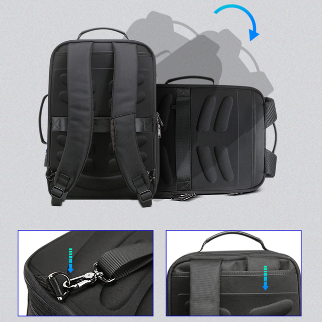 BOPAI Men Backpack Expandable Weekend Work Travel Back Pack Male Waterproof 15.6 Inch Laptop Anti Theft Business Backpacking 3