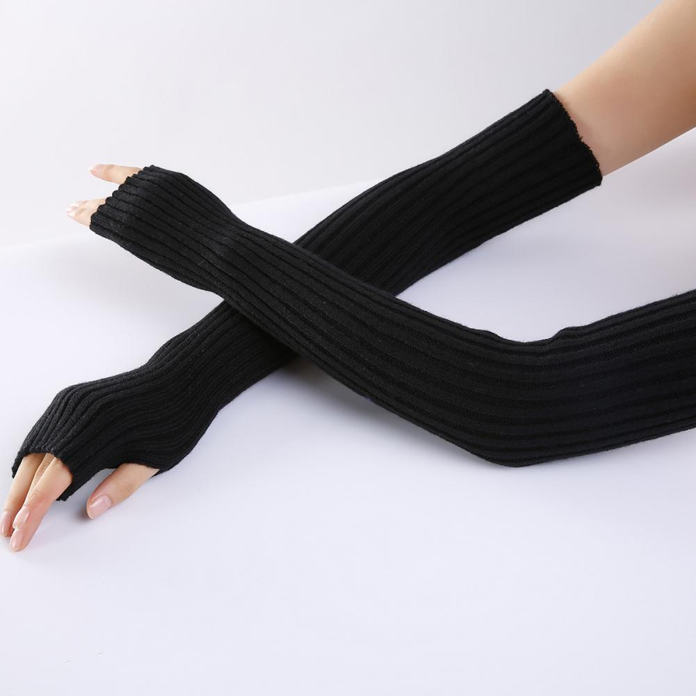 Women Stretchy Long Sleeve Fingerless Gloves Warm Knitted Mittens Arm Warmers