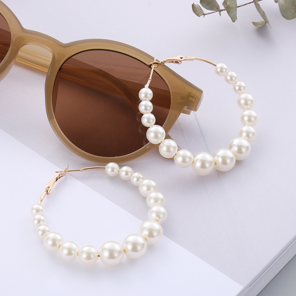 Ha8528a4229694de2ba222f30b4fdc2fc6 - New Boho White Imitation Pearl Round Circle Hoop Earrings Women Gold Color Big Earings Korean Jewelry Brincos Statement Earrings