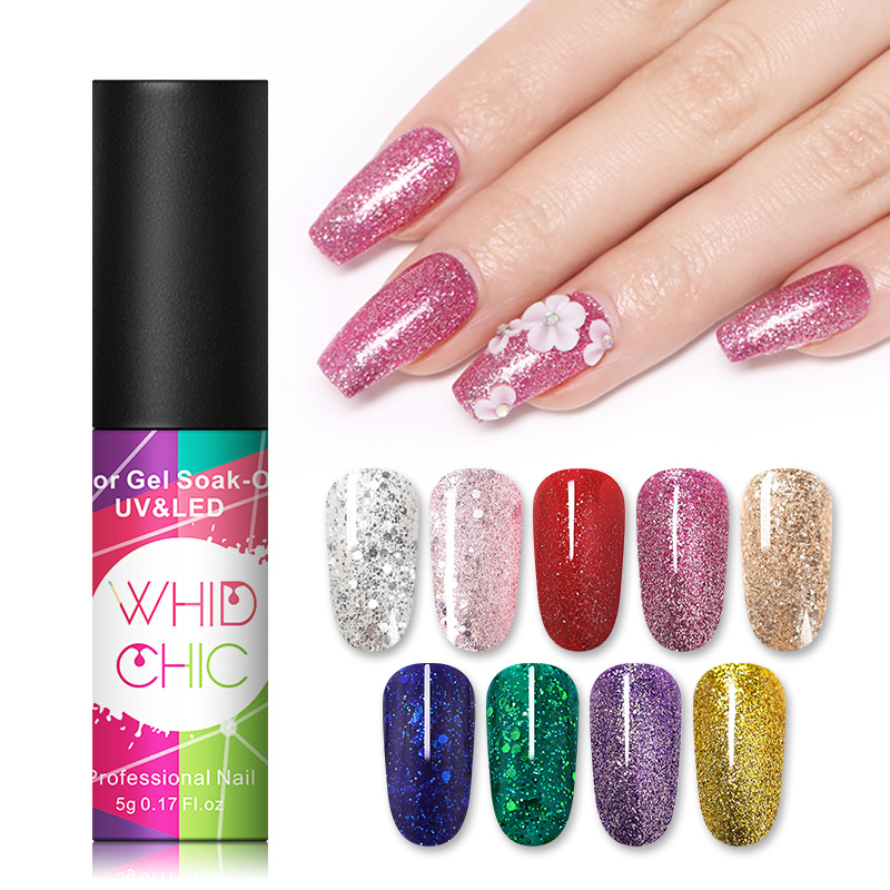 WHID CHIC 1 Bottle 5ml UV Nail Gel Glistening Bling Pink Blue Gold Sequins Colorful Long Lasting Soak Off Nail Gel Polish