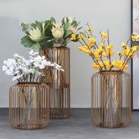 Large 50cm Luxury Gold Cage Shape Floor Flower Pot Art Metal Vase Tabletop Green Plant Dried Flower Pot Home Office Hotel Decor