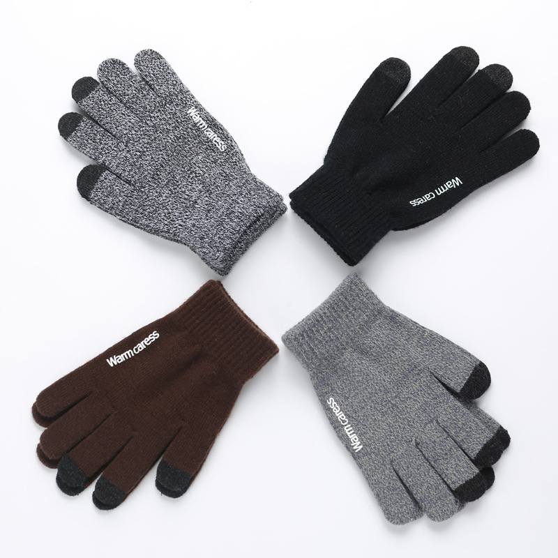 Sparsil Women Men  Knit Touch Screen Mittens Couple Autumn Winter Wool Plush Velvet Warm Full Finger Non-slip  Thick Warm Gloves