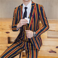 Men Slim Fit Leisure Stripe Blazer Jacket Brand clothing Stage Suit Mens Plus Size High end Luxury Men's Striped Suits Sets 3XL