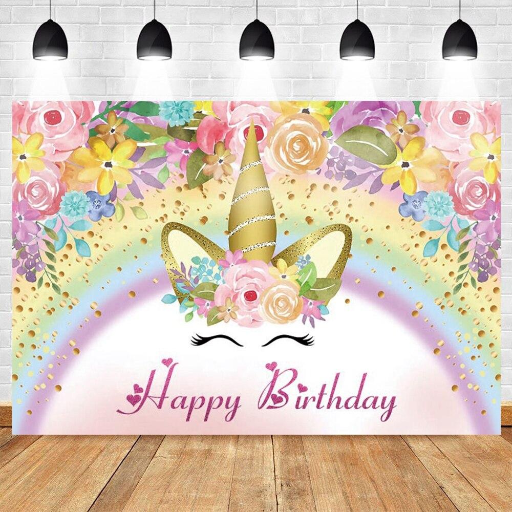 Yeele Unicorn Backdrop Rainbow Flower Cloud Newborn Baby Shower Gril 1st Birthday Party Vinyl Photography Background Photophone