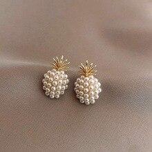 New Arrival Geometric Pearl Women Classic Stud Earrings Pineapple Female Fashion Jewelry Gold