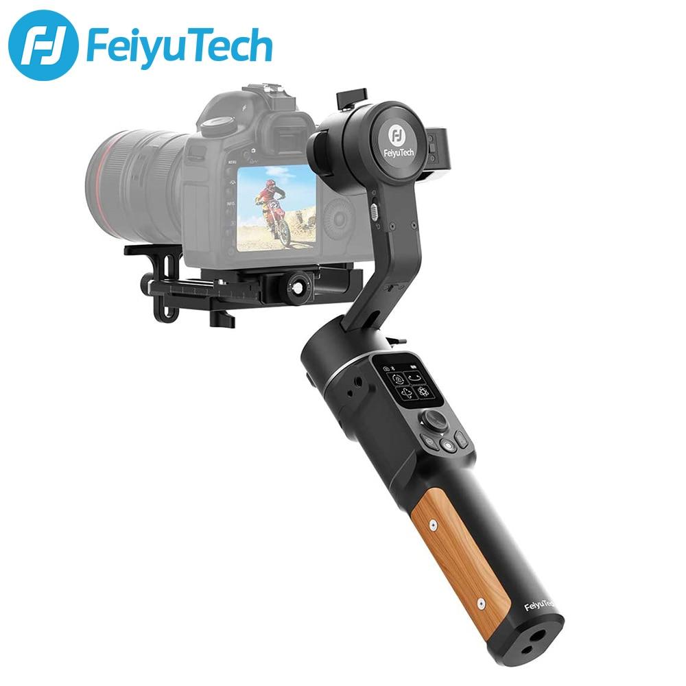 Caixa aberta usado feiyutech ak2000c câmera dslr estabilizador de toque handheld lcd painel de 3 eixos até 2.2 kg para canon nikon