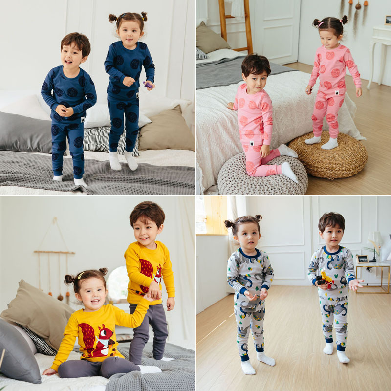 Imported From South Korea 2019 Vovo Men And Women Children Autumn & Winter New Style Home Wear Underwear Suit