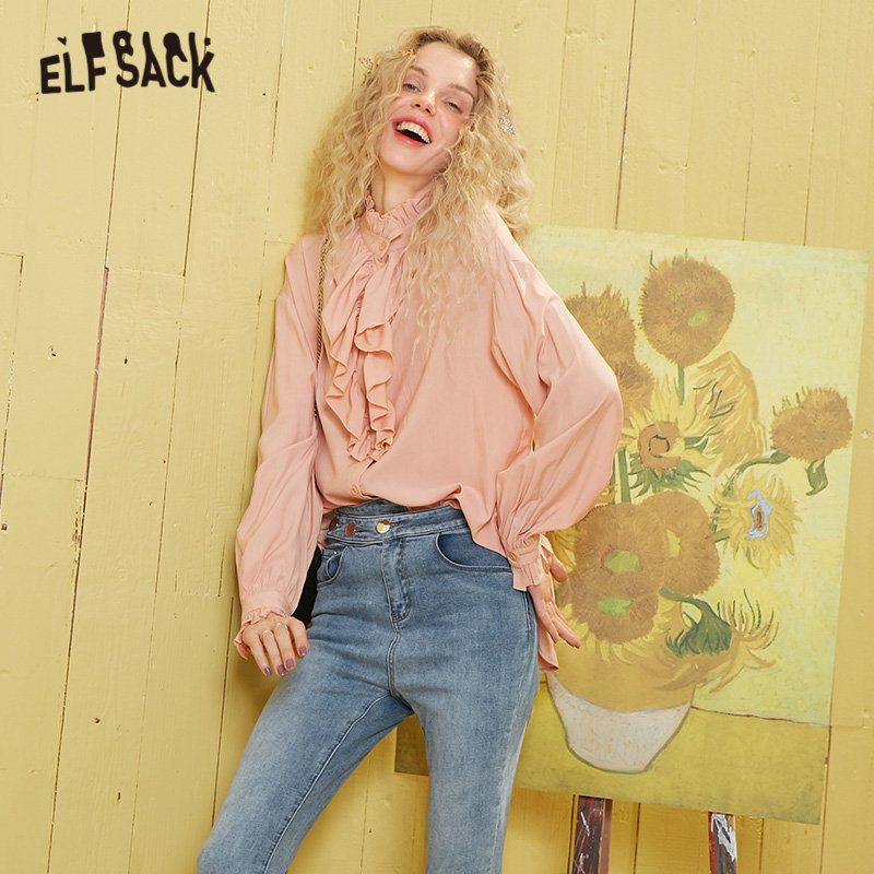 ELFSACK White Solid Frill Neckline Casual Blouse Women 2020 Spring Blue Pure Vintage Lantern Sleeve Korean Ladies Daily Top