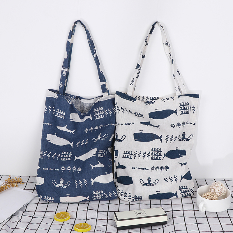 1PCS Print Whale Octopus Sea Life Shopping Bags Durable 1 Layer NO Lining Cotton Linen Shopping Tote Carrying Shoulder Bag