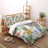 Set di biancheria da letto con motivo floreale ananas Set di lenzuola copripiumino Twin Size per copriletto federa per la casa
