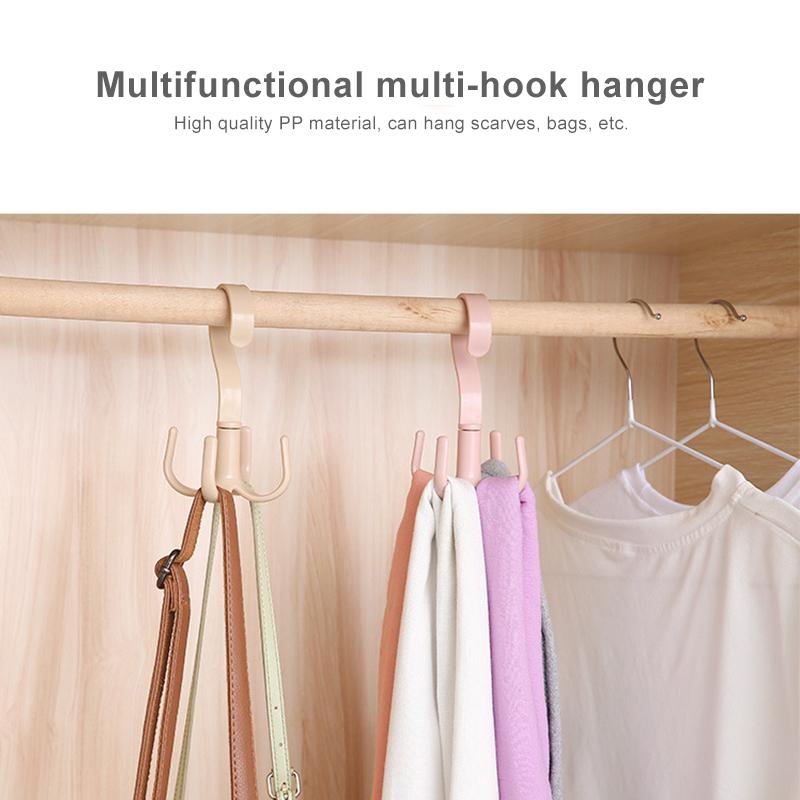 4 Hooks Plastic Handbag Clothes Ties Bag Holder Shelf Organizer 360 Degrees Rotated Belt Closet Hanger Hanging Rack StorageHook