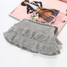 С кристалалми и стразами шипованные блестящие Для женщин вечерняя сумочка; BS010 блесток грубая юбка по сниженным ценам! сцепления кошелек с металлическим каркасом сумка для вечерние банкет