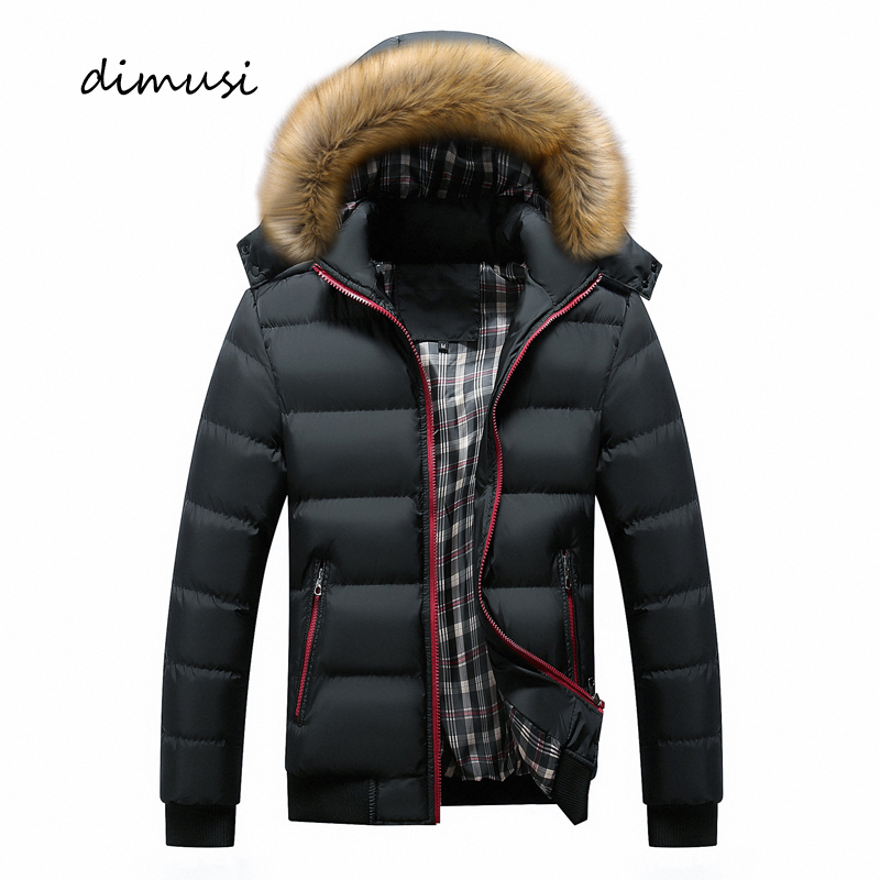 DIMUSI Winter Men Jacket Casual Mens Faux Fur Collar Cotton Thick Warm Hoodies Parkas Male Thermal Windbreaker Jackets Clothing