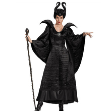 Thin Maleficents Costume Adult Women Halloween Witch Cosplay Fairy Tale Sleeping Beauty Curse Witchcraft Performance Dress
