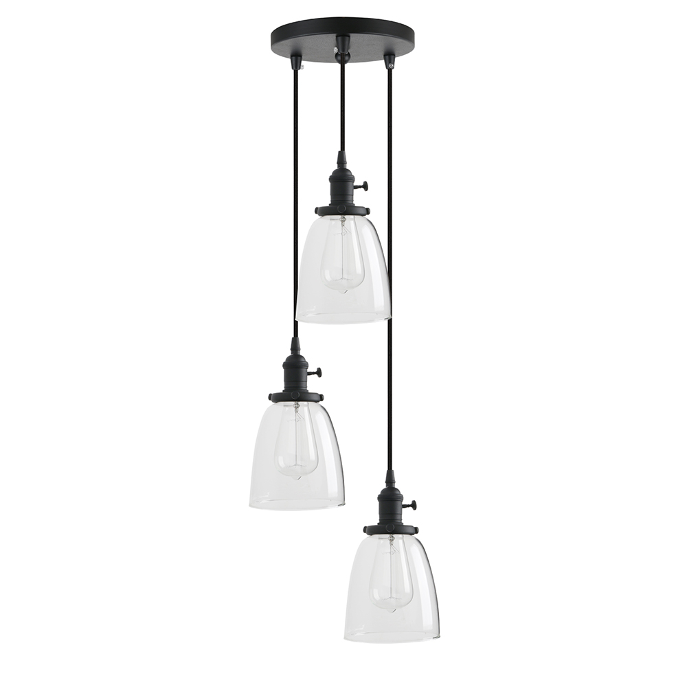 Permo <font><b>3</b></font> <font><b>Lights</b></font> <font><b>Pendant</b></font> Lighting, Bathroom Vanity <font><b>Light</b></font> Fixtures with Clear Glass Shade, Hanging Lamps for Kitchen Island image
