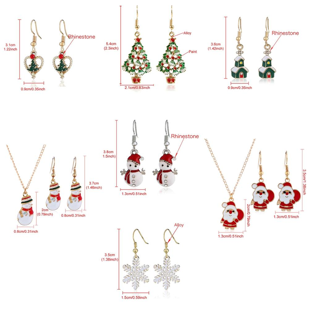 FENGRISE Christmas Necklace Earing Merry Christmas Gifts For Women Xmase Gift Ornament Christmas Decoration Happy New Year 2020 in Pendant Drop Ornaments from Home Garden