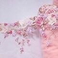 1 метр 23 см ширина одна сторона вышитые кружева отделка свадебное платье сетчатая ткань для шитья ткань шторы, одежда аксессуары DIY
