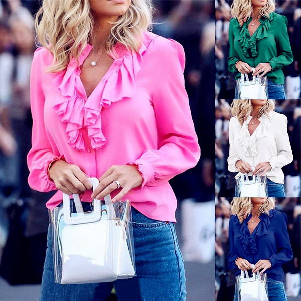 2020 Spring Women Blouses Befree Sexy Long Sleeve Ruffles Loose Elegant Vintage Casual Big Large Pluse Sizes Tops Office Shirts