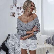 Женская трикотажная рубашка однотонный пуловер с v образным