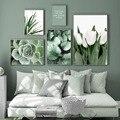 Белый тюльпан, зеленая Орхидея, алоэ, монстера, искусство растений, живопись на холсте, скандинавские постеры и принты, настенные картины дл...