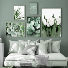 Canvas Painting Orchid Wall-Pictures Tulip Aloe-Monstera Plant-Art Living-Room-Decor