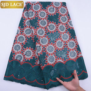 Image 2 - 5Yards Garment Material Original Swiss Voile Lace In Switzerland Eyelet African Nigerian Dry Lace Fabric For Healthy Skin A1728