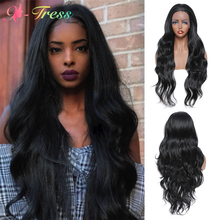 X-TRESS-Peluca de cabello sintético con malla frontal para mujer, pelo largo ondulado de color negro, resistente al calor, para Cosplay diario