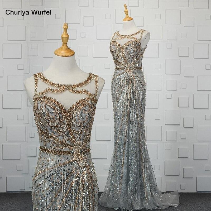 YY081 Mermaid Evening Dress Beaded Crystals O-neck Sleeveless Zipper Back Sequined Evening Gown Vestidos De Noche Elegantes 2020