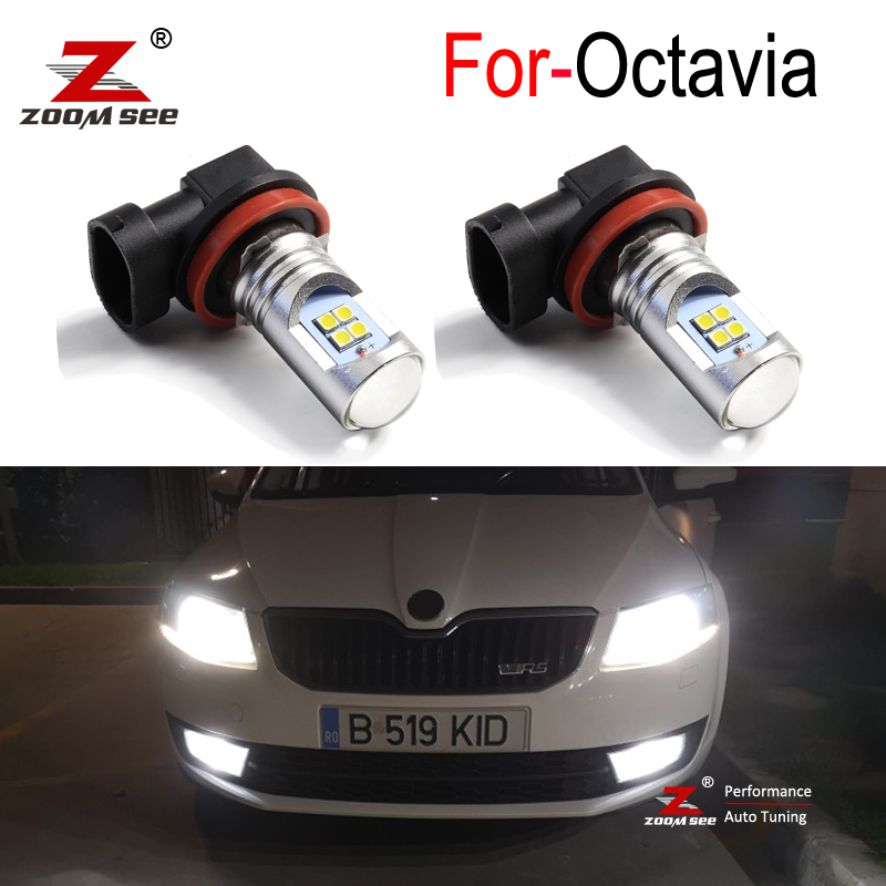 2 шт. Премиум Canbus Белый автомобиля светодиодная лампа H11 H8 передние противотуманные фары светильник лампы для Skoda Octavia 2 3 MK2 MK3 1Z 5E A5 A7 FL 2005 +
