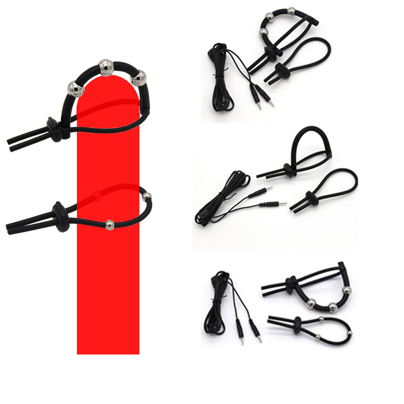 Male Adjustable Electro Shock Penis Rings,  Electric Cock Ring Beads Stimulation Massage Penis Enlarge Rings Medical Sex Toys