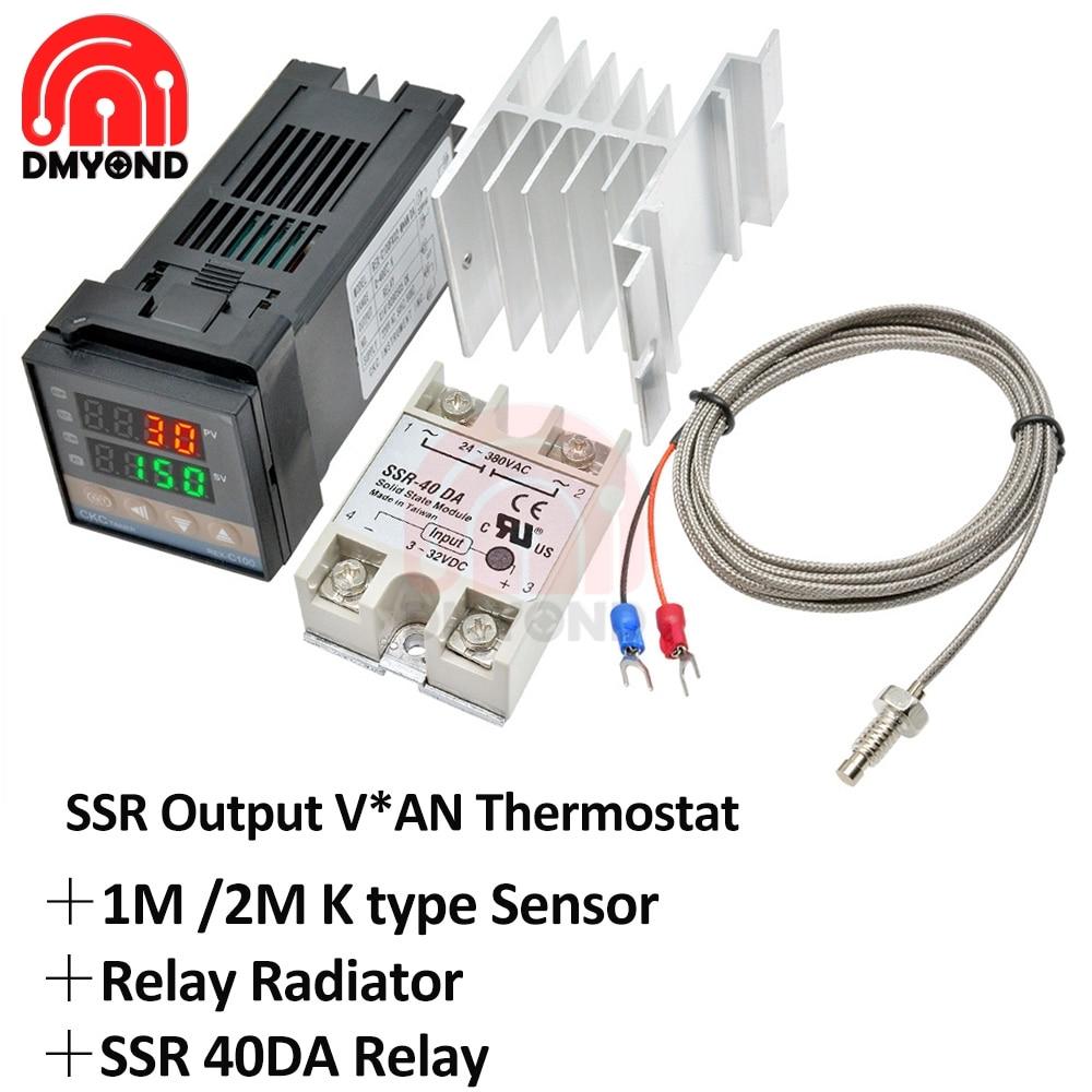 Thermostat de REX-C100 Rex C100 PID régulateur de température numérique sortie SSR + relais SSR Max.40A + Thermocouple K sonde 1m 2m RKC