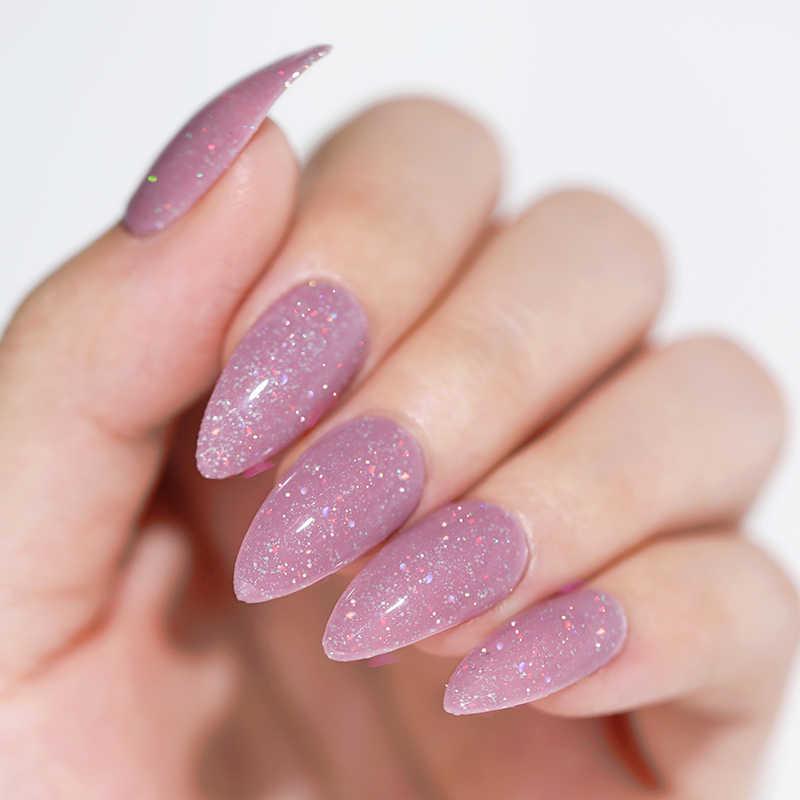 UR GULA 2 Pcs/set Glitter Gel Nail Polish Set Pink Hybrid Warna Semi Permanen Led Gel Varnish Rendam Off UV gel Varnish Nail Art