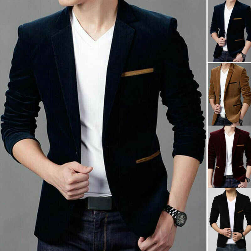 Fluwelen Hot mannen Formele Pak Blazer Jas Business Casual Een Knop Slim Fit Jacket Tops
