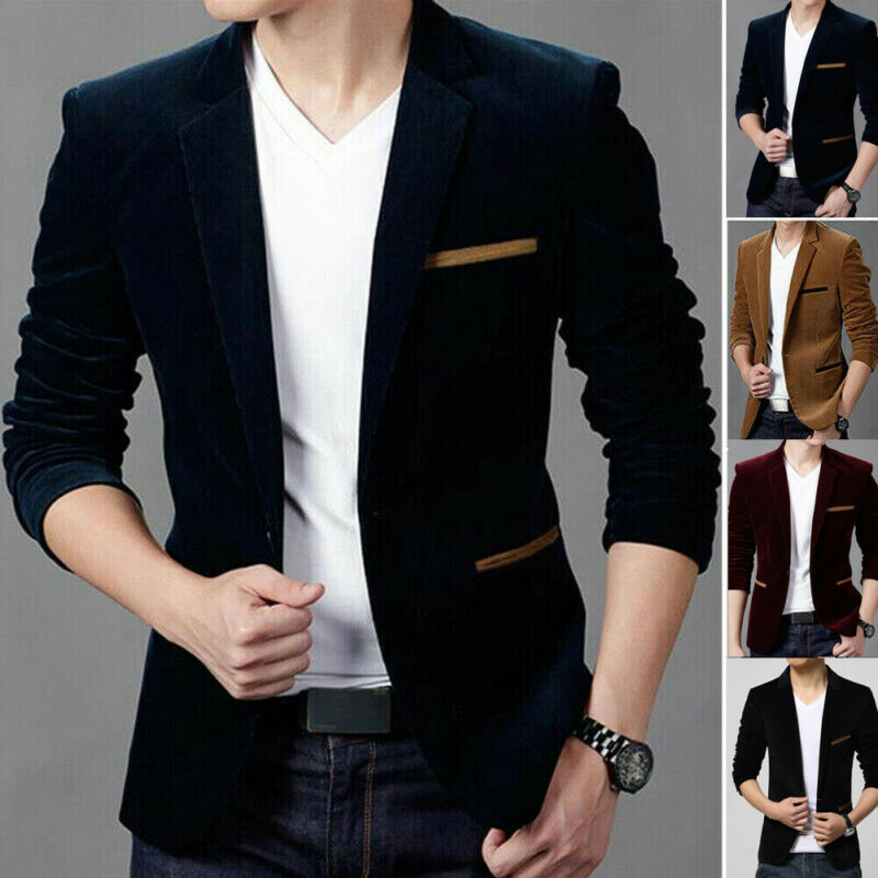 Velvet Hot Men's Formal Suit Blazer Coat Business Casual One Button Slim Fit Jacket Tops