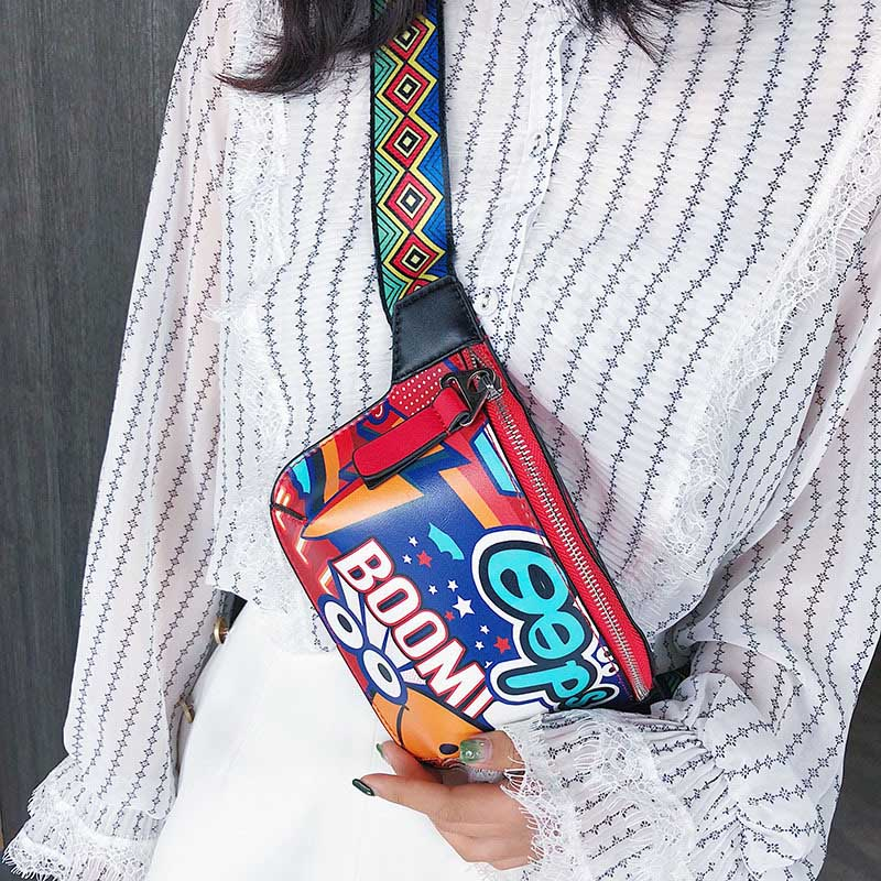 Colorful Women Waist Pack Bag PU Graffiti Fanny Pack Wide Shoulder Strap Printed Belt Bag Fashion Ladies Hip Chest Bags Purses