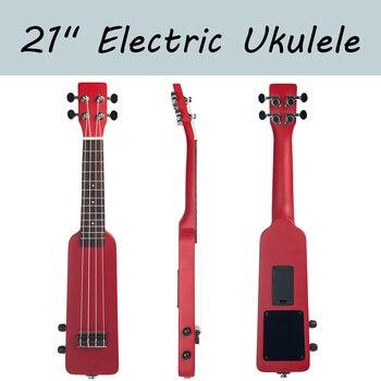 21 Inch Electric Ukulele Solid Wood Creative Bottle Shape Mahogany Shaped UKE Ukulele kmise classical mahogany 21 inch soprano ukulele neck koa wave shape head ukulele parts