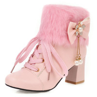 NASBAVI new bow Round Toe square heel PU Ankle Boots for Women pearl Short Plush String Bead Rhinestone Pink Boots Metal Chain