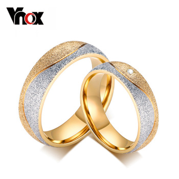 Vnox couple engagement ring for women men sand blasted gold color stainless steel CZ wedding rings Personalized jewelry meaeguet gold color luxury paved crystal engagement ring for women stainless steel big statement ring jewelry bague femme