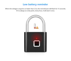Image 4 - KERUI Waterproof USB Charging Fingerprint Lock Smart Padlock Fingerprint lock 0.1sec Unlock Portable Anti theft Fingerprint Lock