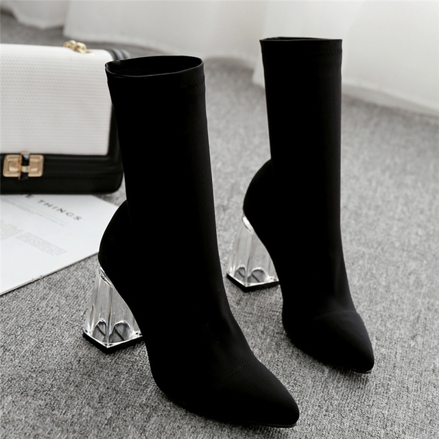 2019 Autumn Spring Fashion Women Silk Socks Boots Satin Yarn Elastic Ankle Boots Clear Perspex Heels Boots Slip On Party Shoes