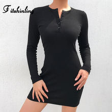 Fitshinling Buttons Up Black Dresses For Women Streetwear Slim Sexy Dress Ladies Solid Autumn Winter Long Sleeve Vestidos Sale