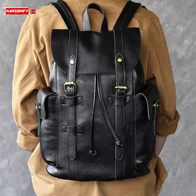 Classic trendy large-capacity leather men's backpack retro soft black leather men travel backpacks computer bag male school bags